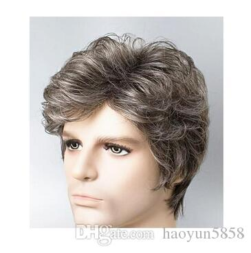 Middle-aged And Old Man White Wig Short Curly Hair Fleeciness ... 4d5ad73362