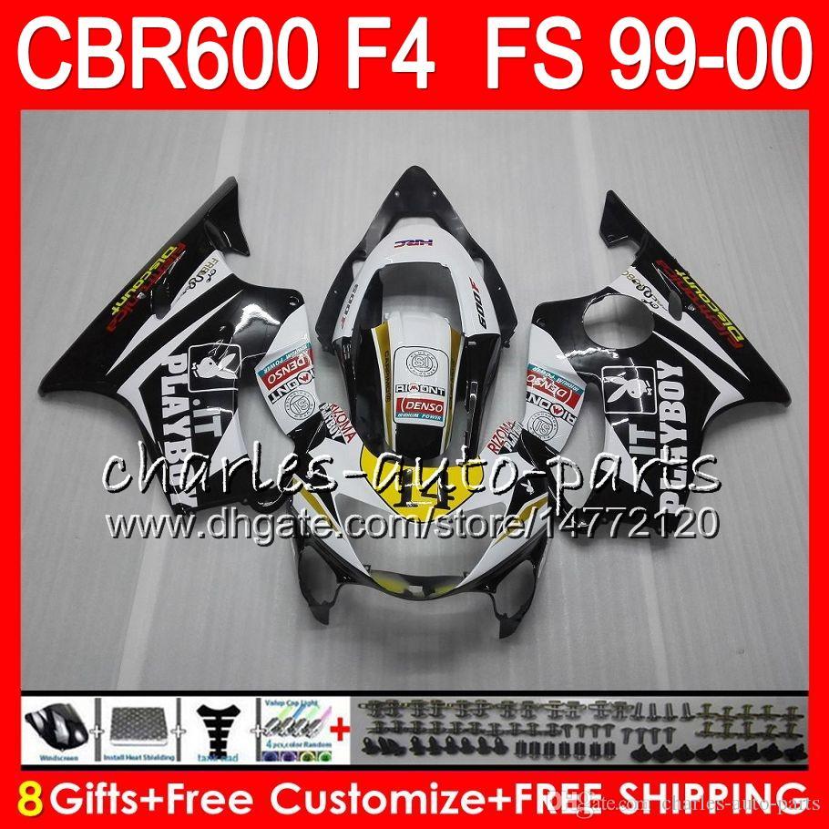 8Gifts Bodywork for 혼다 CBR600 F4 1999 2000 CBR 600F4 30NO49 블랙 화이트 CBR600F4 99 00 CBR 600 F4 99-00 CBR600FS FS 페어링 키트