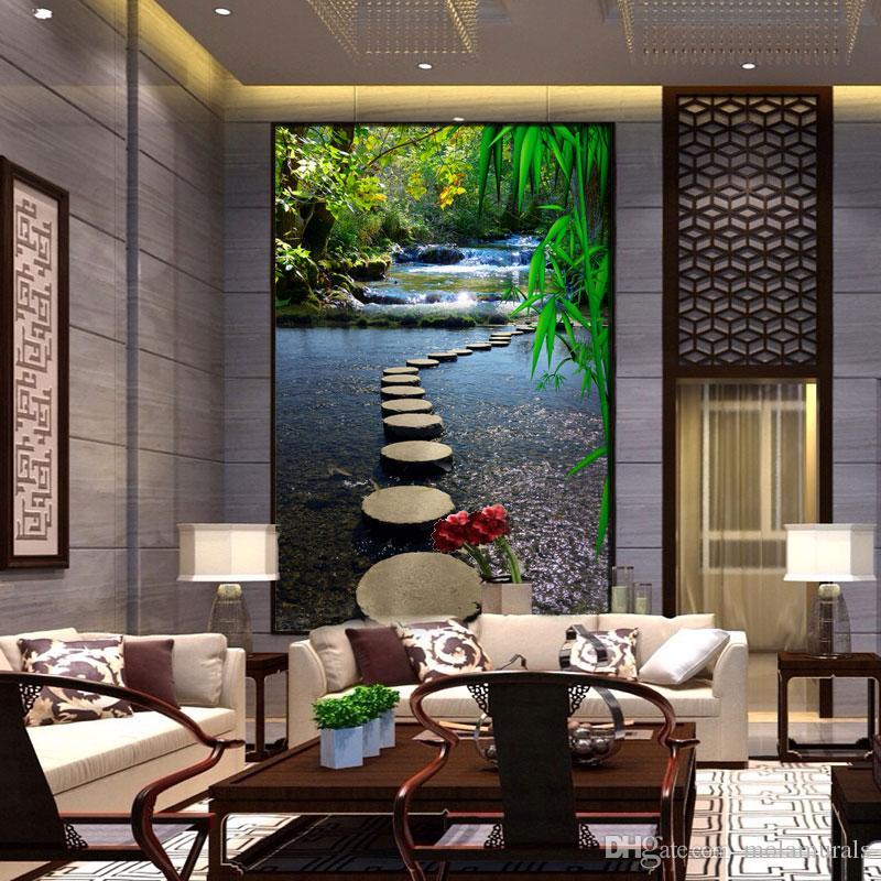 3d foto personalizzata carta da parati murales muro moderno ingresso soggiorno paesaggio percorso acqua stampa sfondi tessili