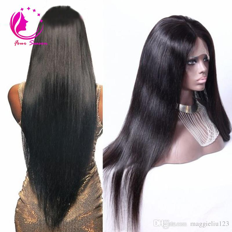 long silky straight lace front wig 12-28 inch human hair glueless full lace wig bleached knot baby hair around for black women