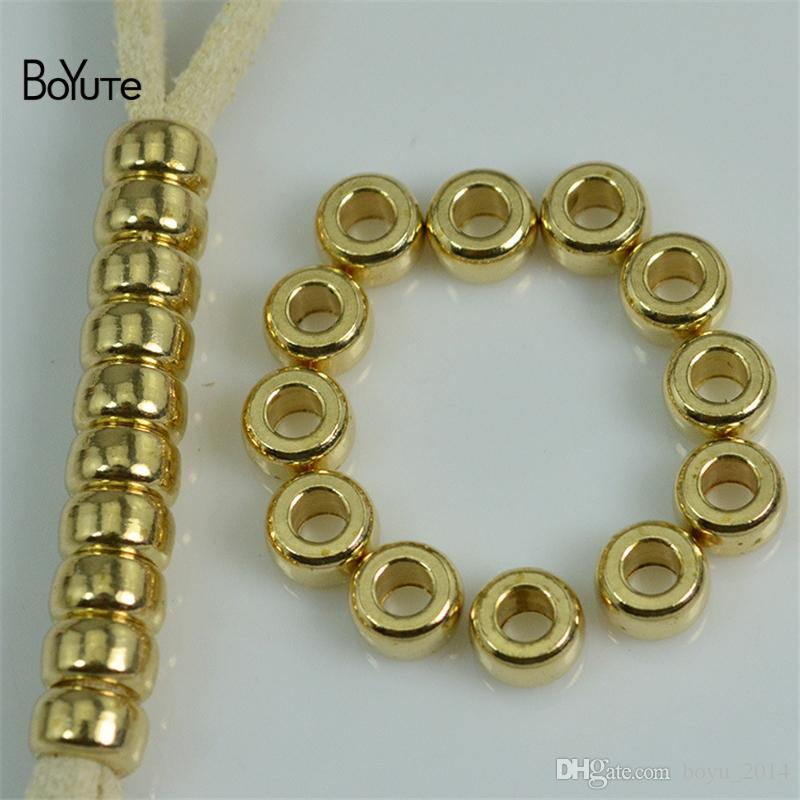 BoYuTe 5MM-6MM-7MM-8MM-10MM Raw brass Metal Brass Round Spacer Beads for Jewelry Making Jewelry Findings & Components
