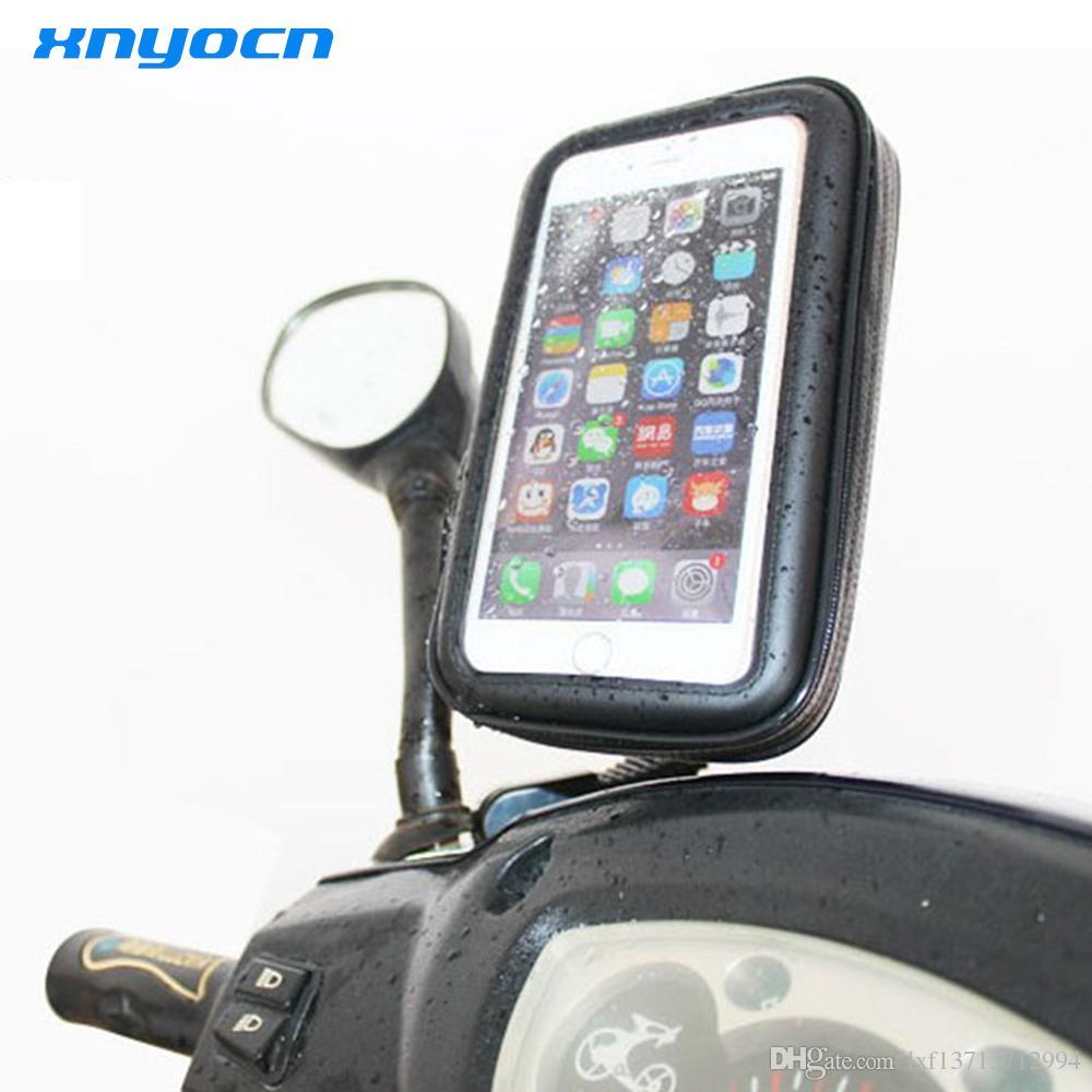 Soporte para teléfono móvil mayor-motocicleta para iPhone 4 5S 6 Plus GPS motor Vista posterior Montaje en espejo + Bolsa impermeable soporte movil moto
