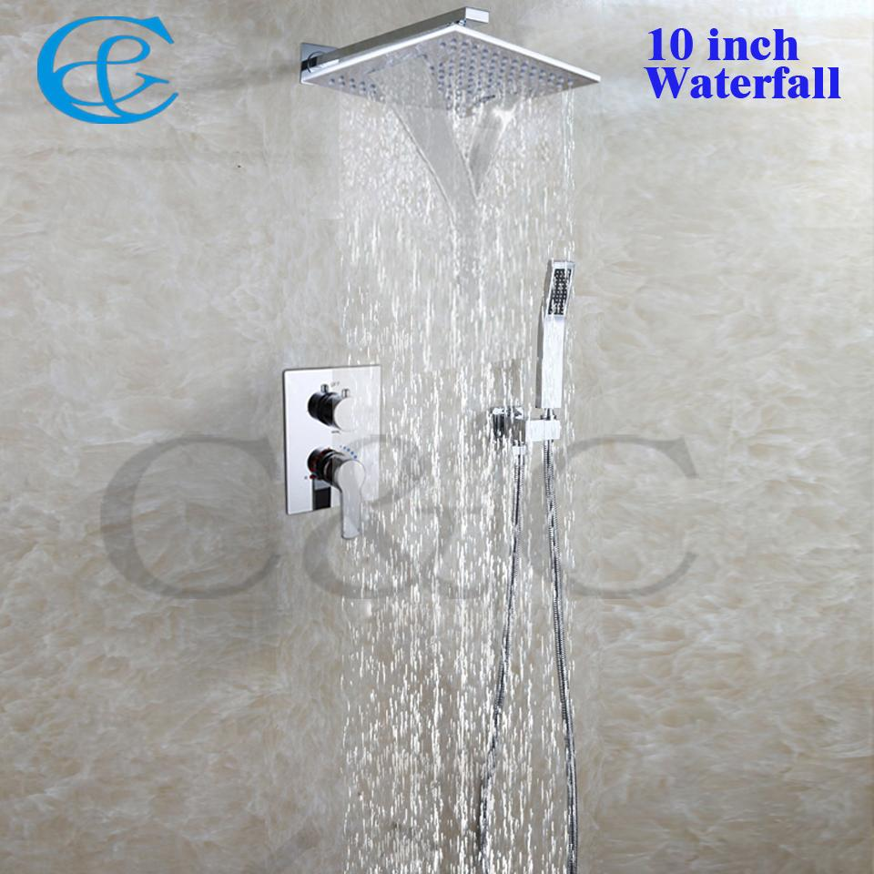 10 inch square rain waterfall shower head bathroom products hot and cold rain bath shower faucet set 002v ws25x25 2g bath shower mixer shower mixer faucet