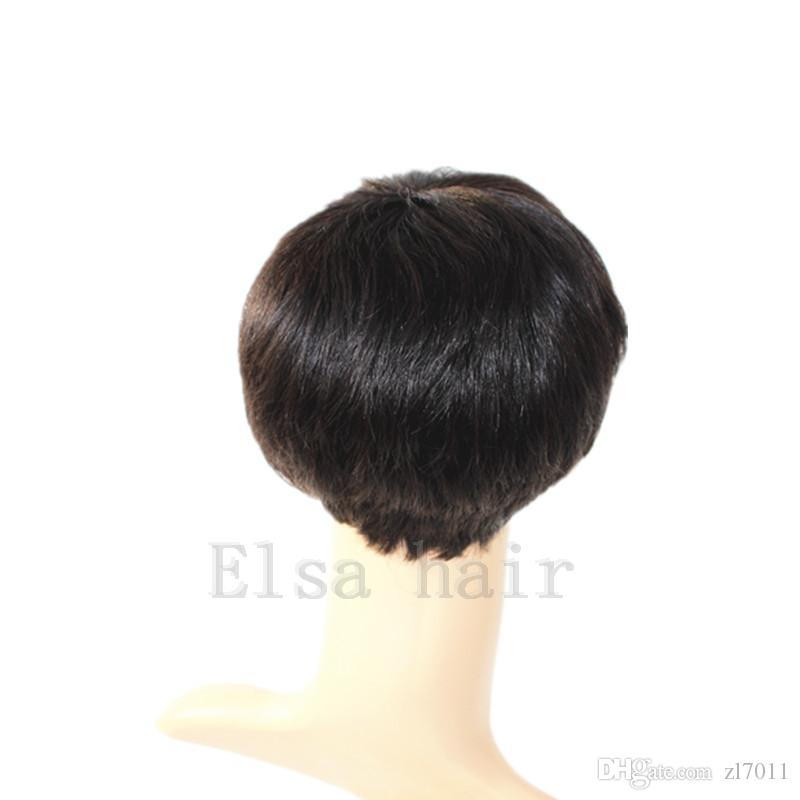 Full Machine made none Lace Rihanna Chic Cut Short Human Hair Wigs Unprocessed Virgin Brazilian Human Hair Wigs For Black Women