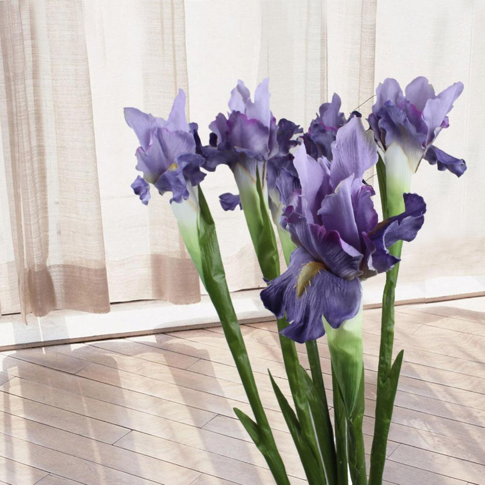 Online Cheap Artificial Flower Iris Decorative Fake Flowers Display