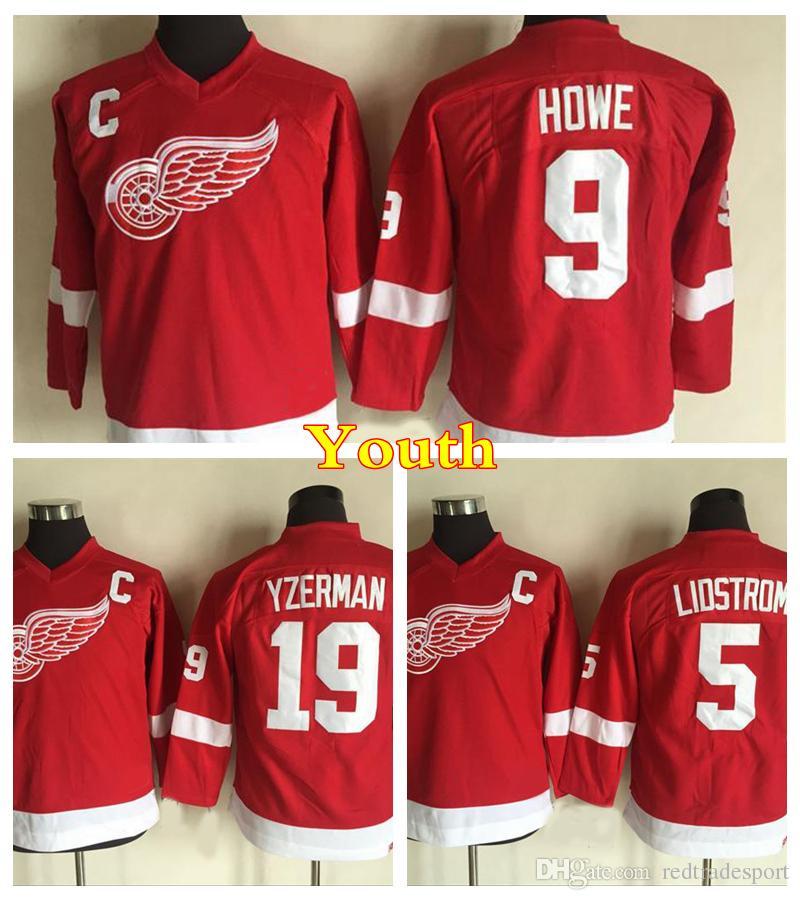 buy online 53520 3f149 Youth Retro Detroit Red Wings Hockey Jersey 5 Nicklas Lidstrom 9 Gordie  Howe 19 Steve Yzerman Vintage CCM Home Red Kids Stitched Jersey
