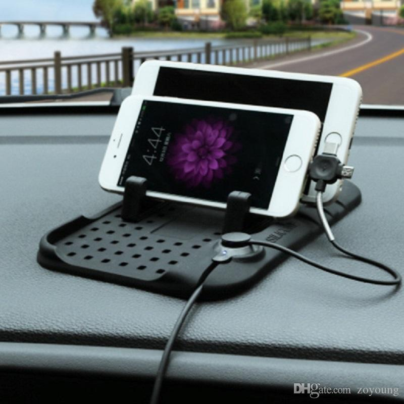 Car Silicone Pad Dash Mat Cell Phone Mount Holder Cradle with with Multi-functional Charging Cables for iphone and Android DHL
