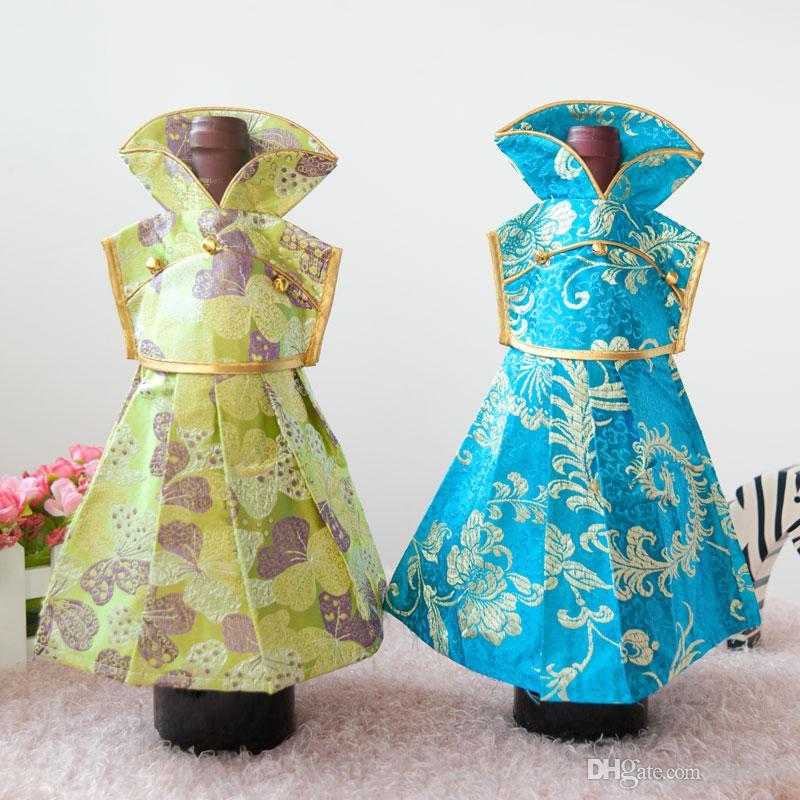 女性のドレスの装飾の結婚式のワインのびんの服をカバー中国のシルク生地クリスマスワインのびんの装飾的なボトル750ml /ロット