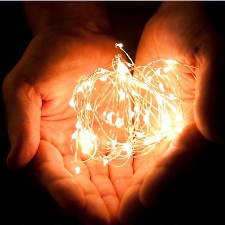 Haute Qualité 2 Mètres Argent Fil 20 LED Arbre De Noël Fleur Vase Décoration Guirlande Lumineuse Pour La Décoration De Noce