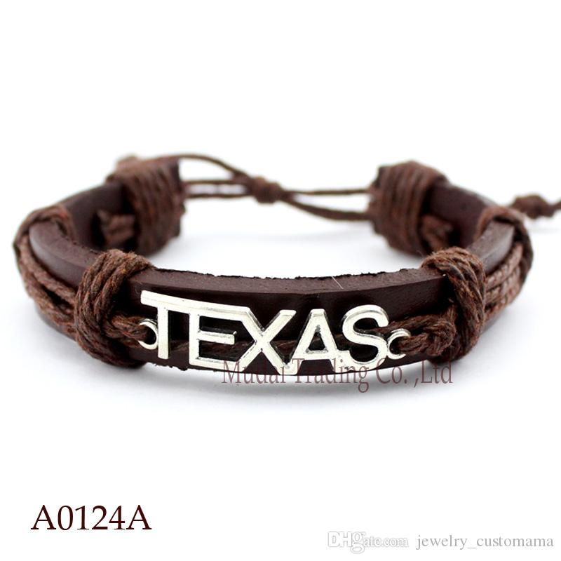 ANTIQUE SILVER TEXAS CHARM Adjustable Leather Cuff Bracelets for Men & Women PUNK Friendship Casual Wristband Jewelry