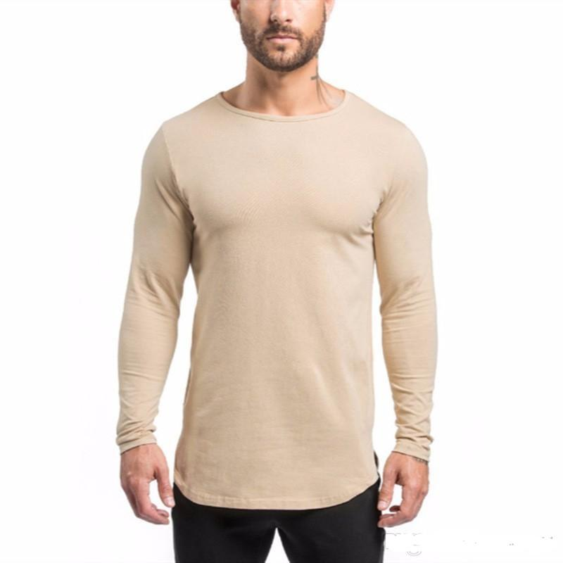 New Brand Design Slim Fit Gyms Men'S Long Sleeve T Shirts Muscle ...