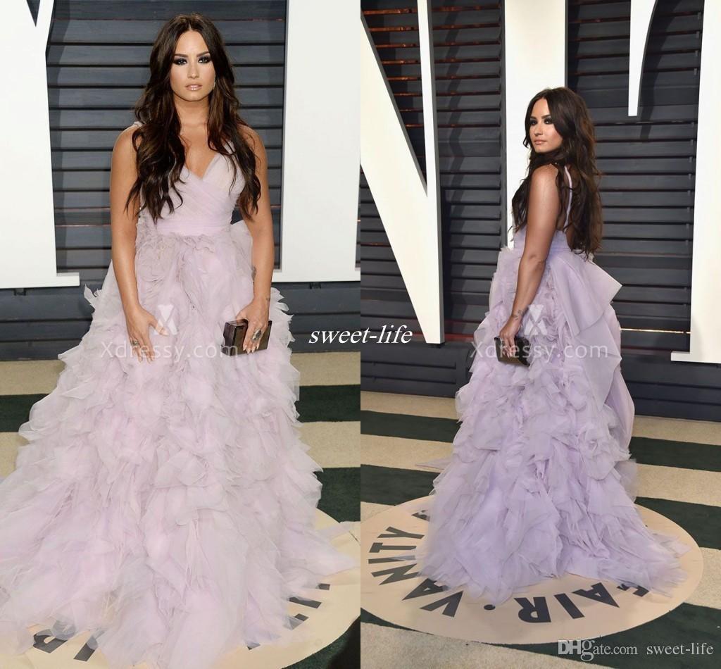 Elegant Demi Lovato Ruffled Lavender Tulle Prom Gowns Vanity Fair ...