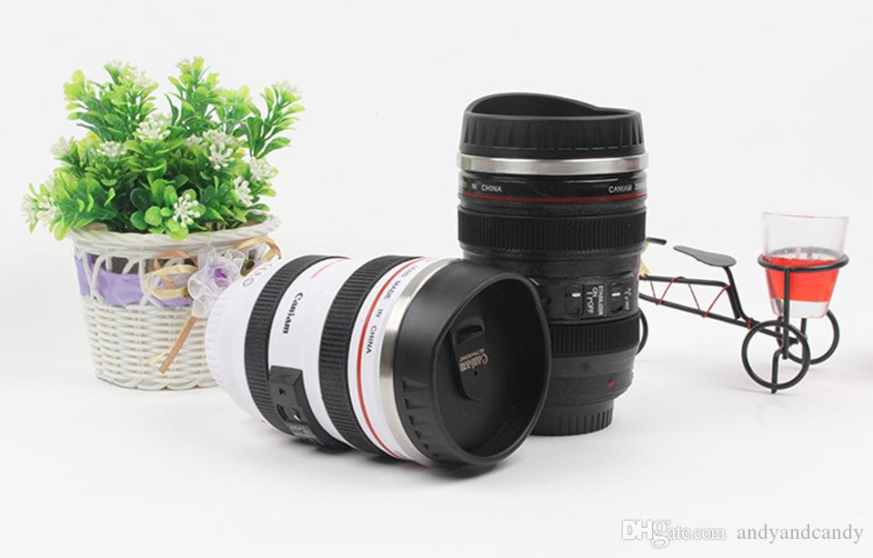 Creative Camera Lens Mug Stainless Steel Liner Emulation Camera Lens Mugs Coffee Tea Cup Novelty Gifts Travel Flasks Thermocup 400ml