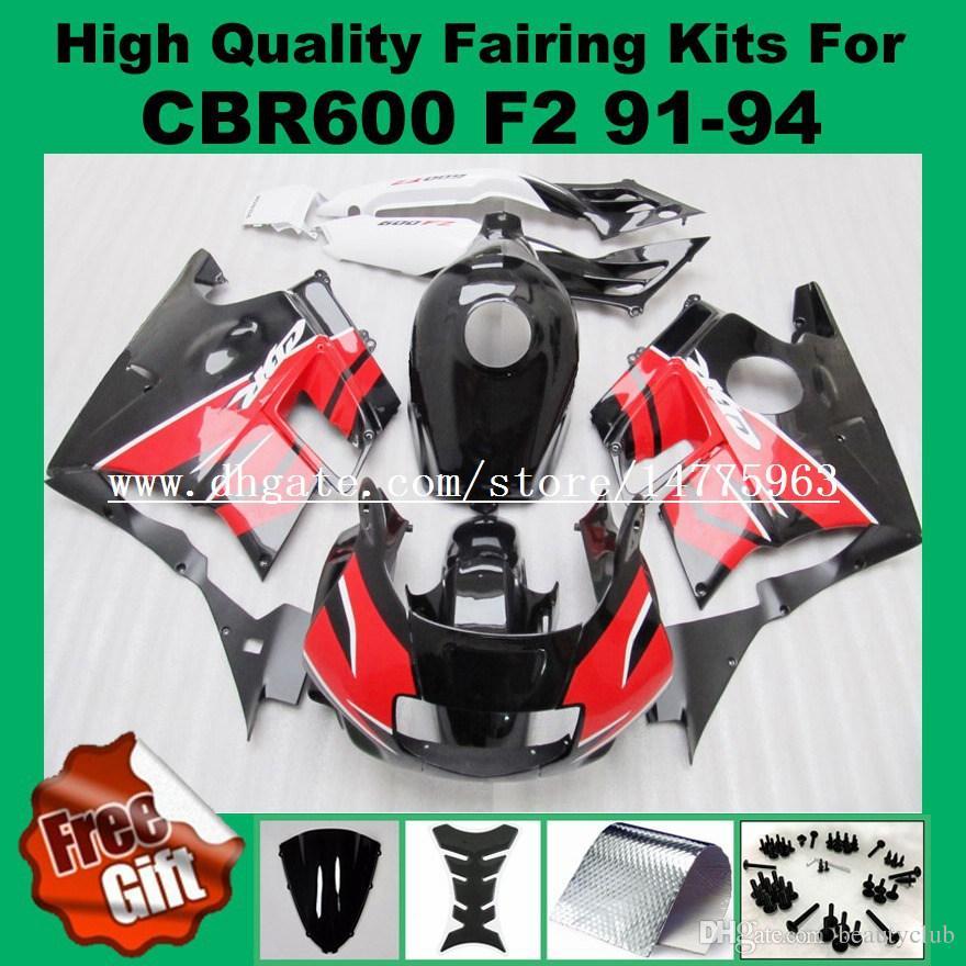 9Gifts fairing kits For HONDA CBR600 F2 91 92 93 94 CBR600RR CBR 600F2 600 F2 CBR600 F2 1991 1992 1993 1994 Fairings red black + tank