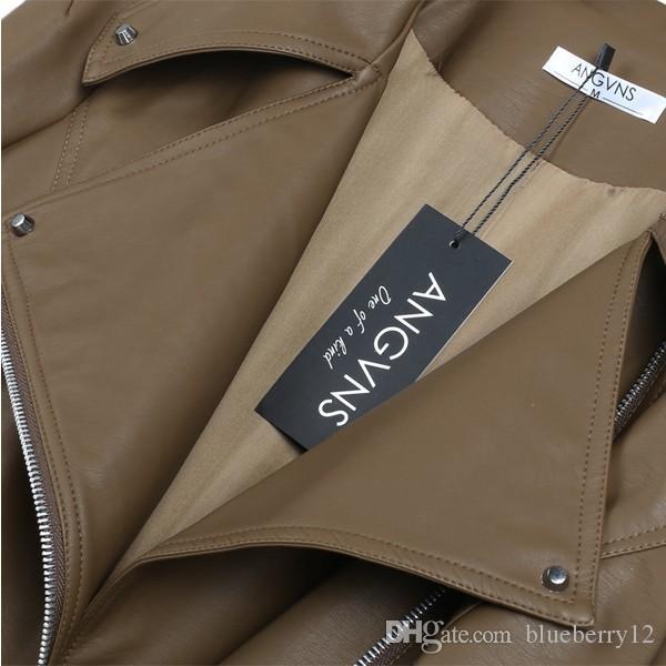 Jaqueta de couro falso moda zipper mulheres senhoras manga comprida outono inverno casual jaqueta de couro preto