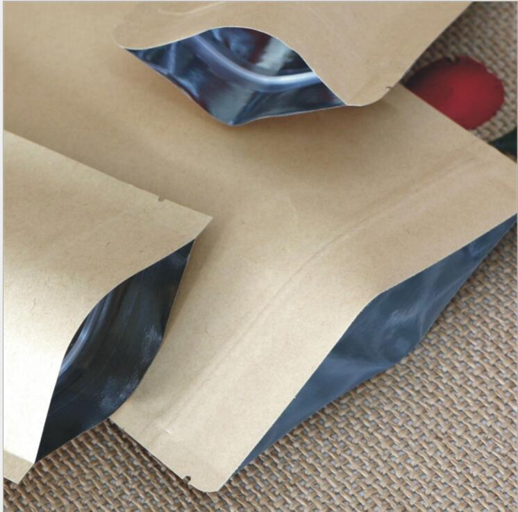 New Food Moisture-proof Bags Kraft Paper with Aluminum Foil Lining Stand UP Pouch Ziplock Packaging Wrap for Snack Candy Cookie Baking