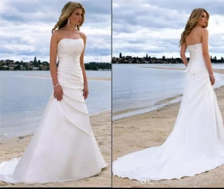 Wedding Dress Preservation Uv Protected: Discount White/Ivory Strapless Satin Seaside Summer Beach