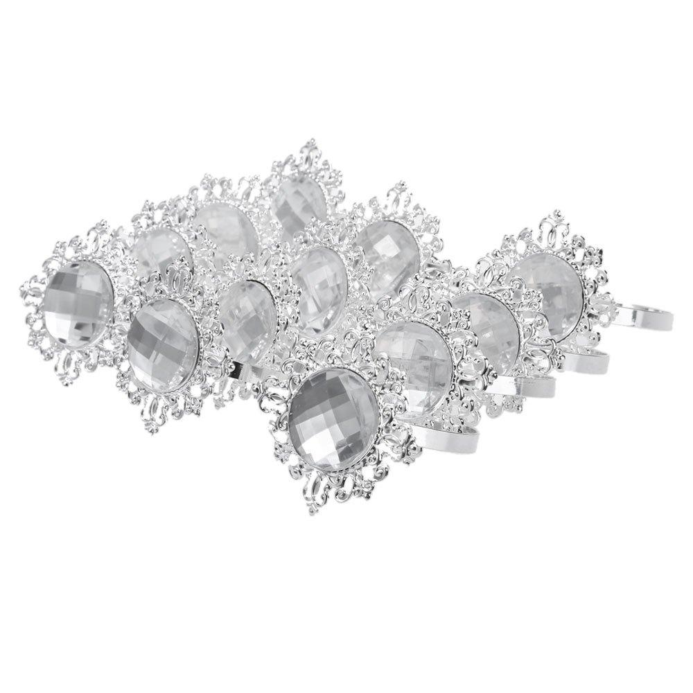 Pearl Paper Home Decor Stock Product India Napkin Rings: Acrylic Silver Plated Diamond Napkin Rings For Wedding