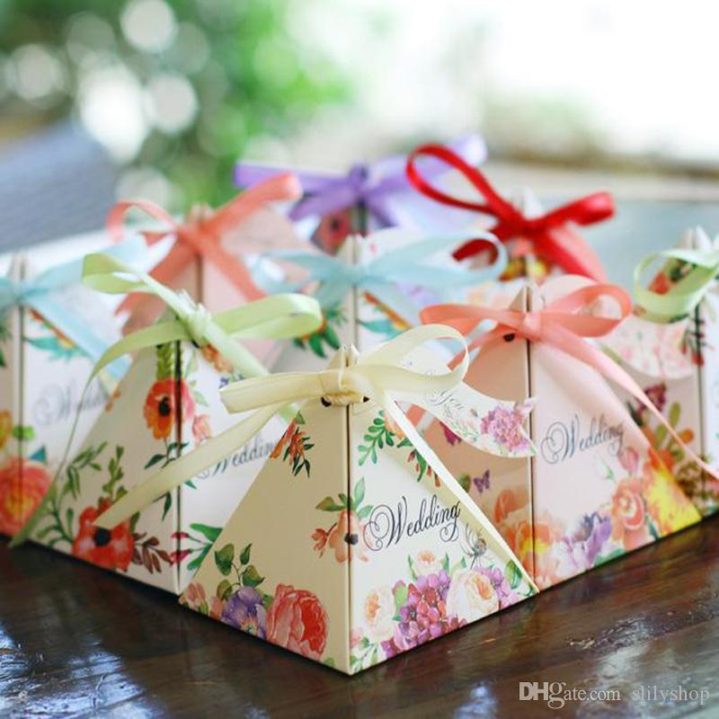 Gift Candy Boxes Cake Style Triangular Flower Ribbon Wedding Party ...