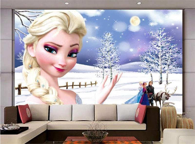 Wholesale 3d Kids Baby Room Wallpaper Custom Photo Mural Frozen Hd Painting Non Woven Wall Sticker Sofa Tv Background Bedroom Wallpaper 3d