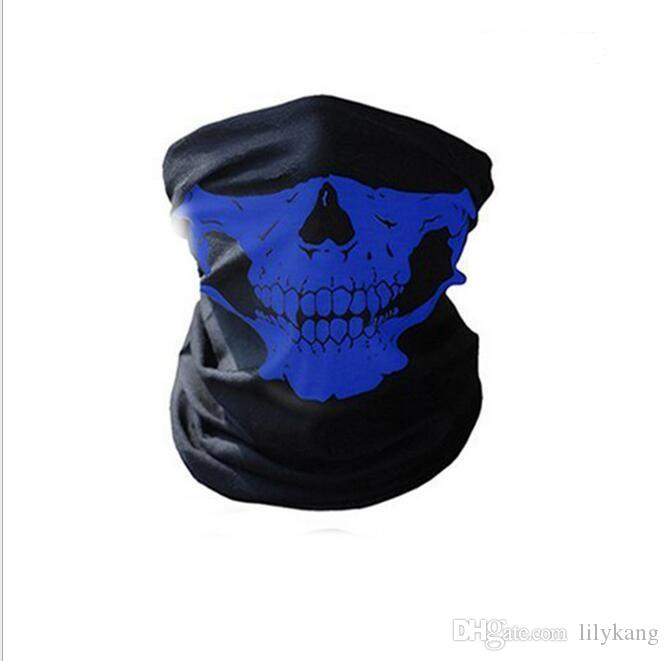 Party Halloween Scary half face Mask Festival Skull Masks Skeleton Motorcycle Bicycle Multi Masks Scarf Half Face Ski Bi Mask Cap Neck Ghost