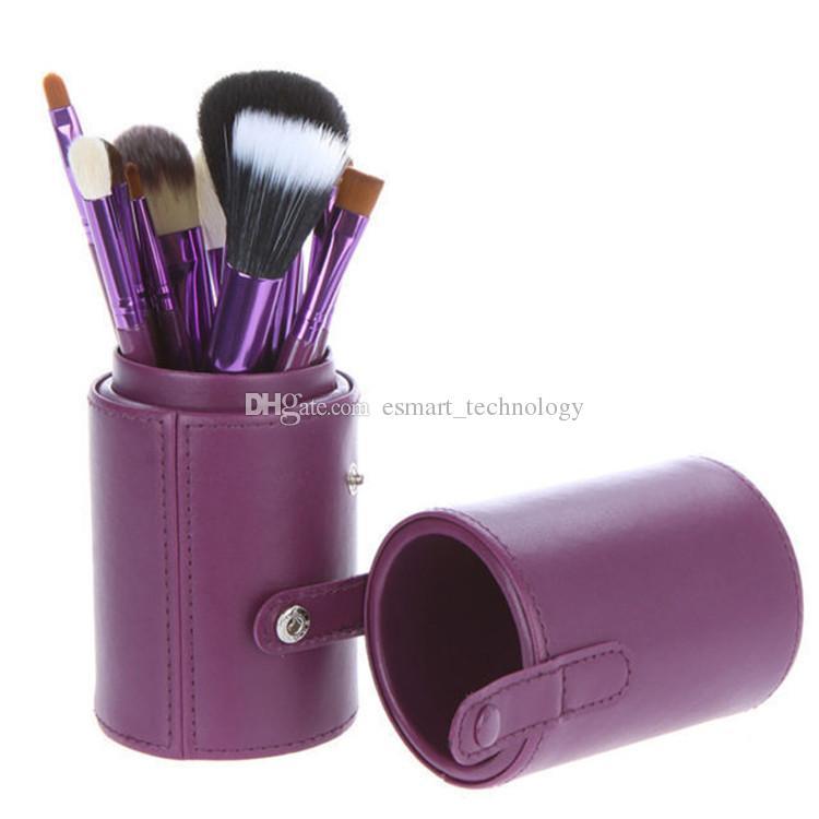 الجملة عارية ماكياج فرشاة مجموعة مع كأس PU فرشاة التجميل استحى / عيون / وجه فرشاة DHL شحن مجاني