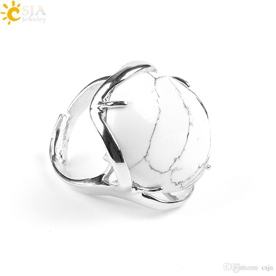 Csja 18 اللون أنثى البيضاوي الكريستال الطبيعي خاتم أزياء الفضة والمجوهرات كوكتيل حزب خواتم النساء عيد حجر فنجر المجوهرات هدية E580 ب
