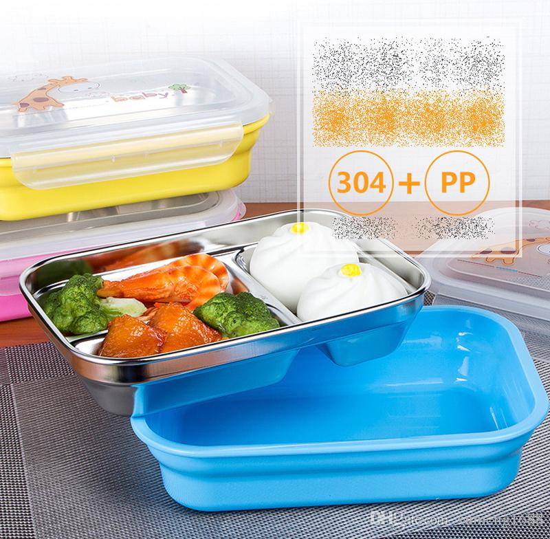 3 Grid Bento Box With Lid - 304 Stainless Steel Food Box Storage Container Lunch Bento Boxes Dinnerware Set