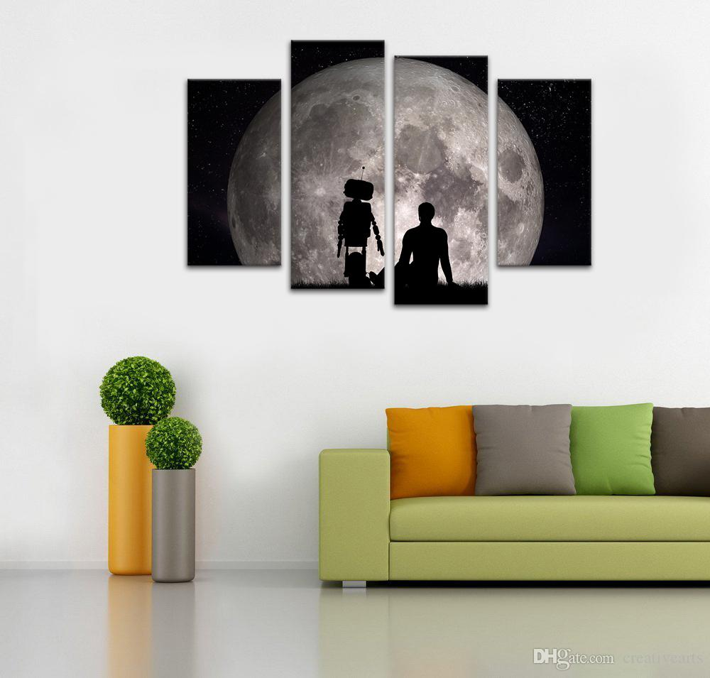 Nature Scenary Canvas Painting Super Moon Canvas Wall Picture HD Photo Prints Unframed/SJMT1854