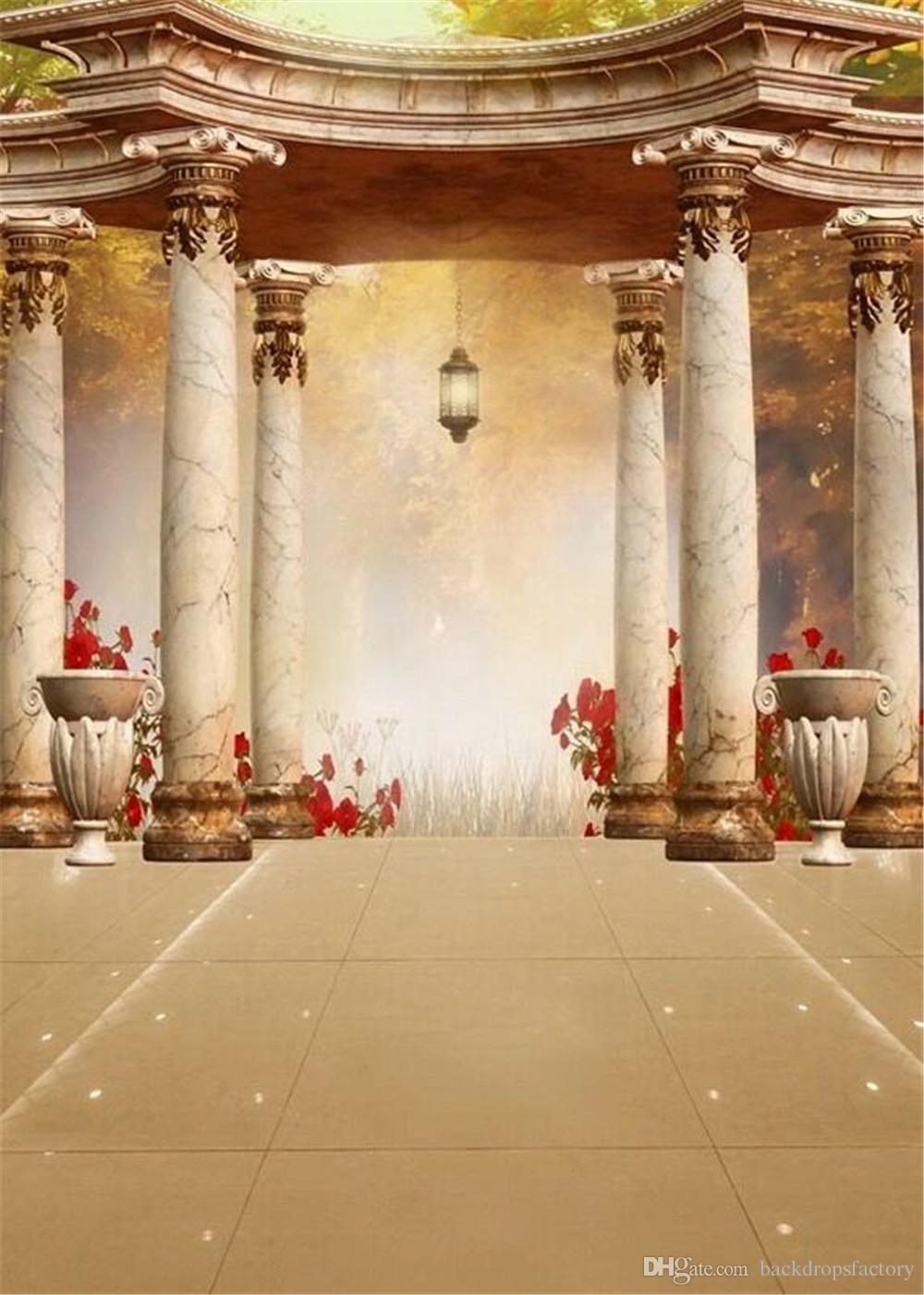 2019 Vintage Pavilion Stone Pillars Wedding Backgrounds For Photo