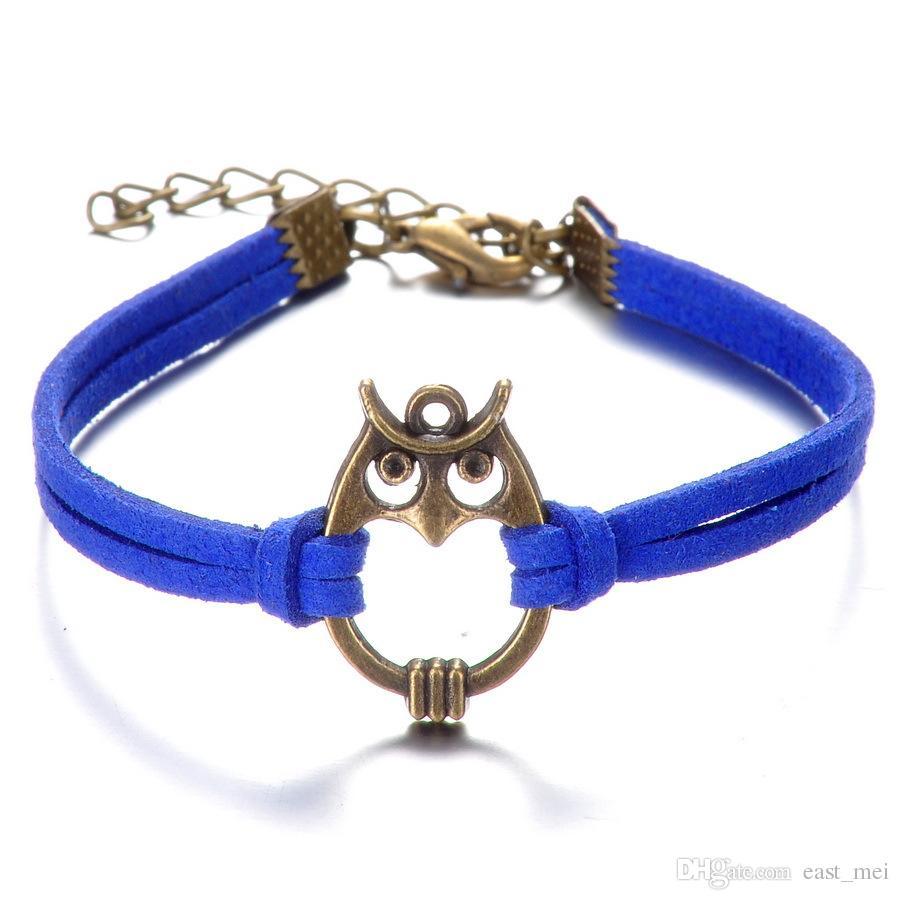 Nagelneue Art und Weiseeulenhandseil-Legierung handgewebtes Armband FB256 Mischungsauftrag 20 Stücke viel Charme-Armbänder