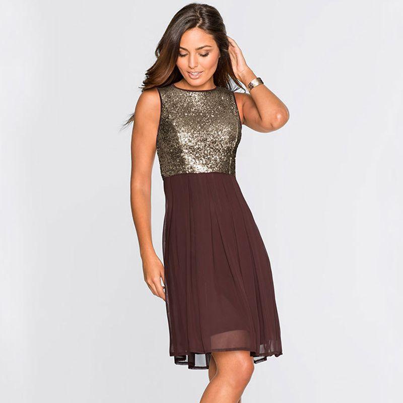 8dfa61a1dd260 Women Sequins Chiffon Skater Dress Pretty Ladies Little Black Dress  Sleeveless O-Neck Party Evening Pleated Dresses S- 2XL ZSJG0521