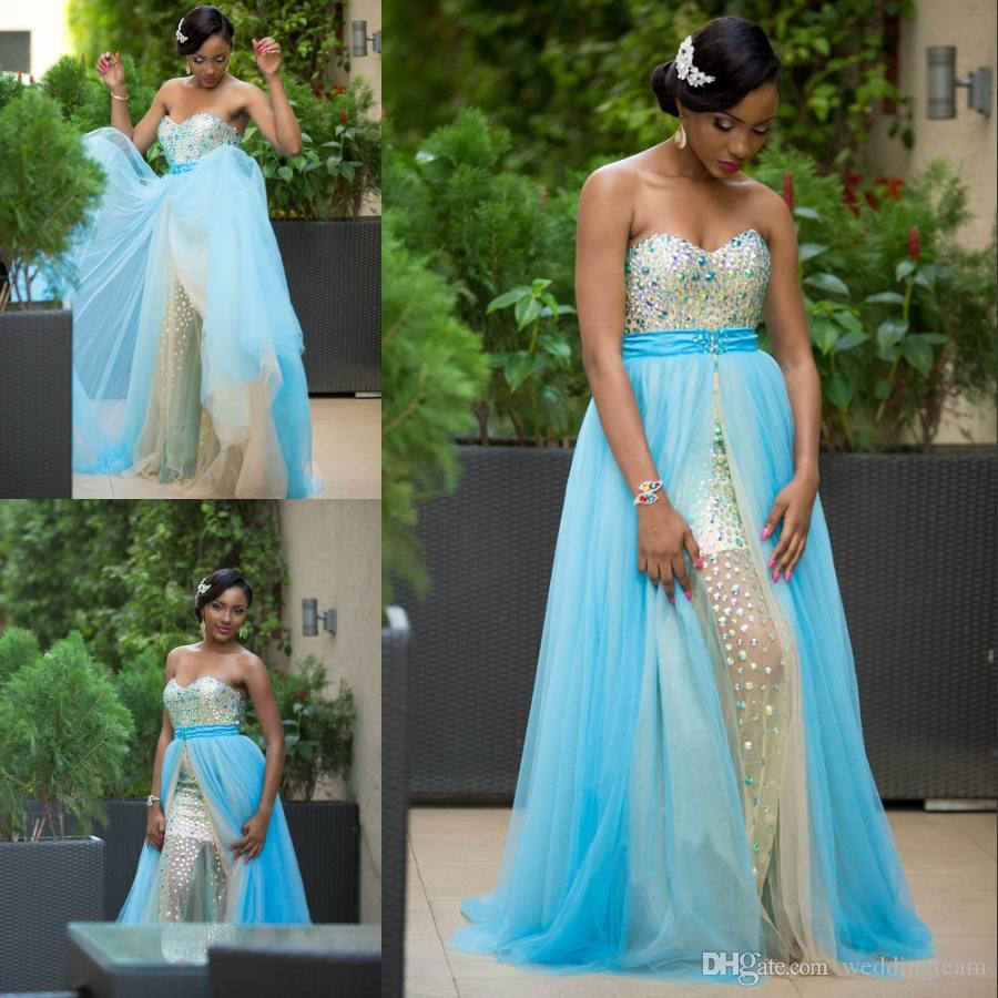 High End Crystals Plus Size Prom Dresses With Detachable Skirt ...