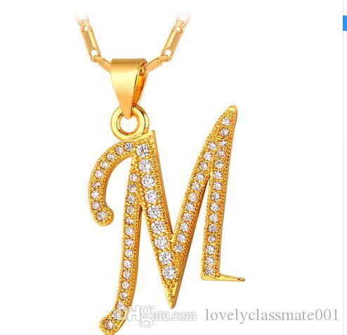 7a3da37e72 Wholesale Capital Initial M Letter Necklace For Men Women Gift Silver Gold  Color Alphabet Pendant   Chain Name Jewelry Fashion P706 Rose Gold Pendant  ...