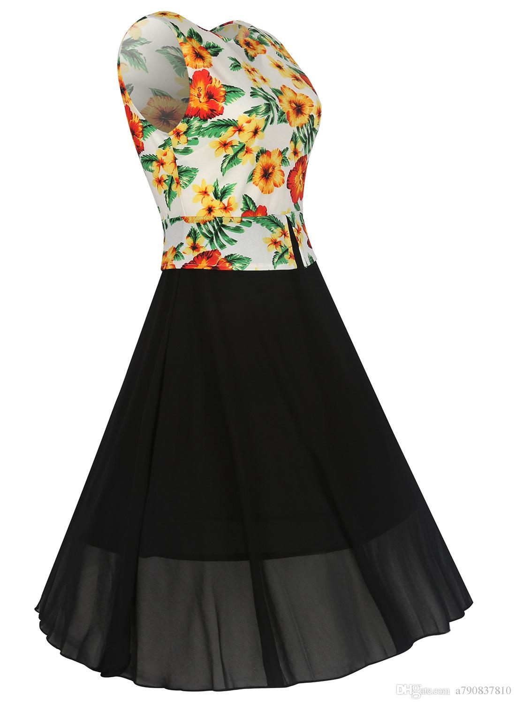 2017 Nouvelles Femmes Élégant Bureau Travail Robes Vintage Rockabilly D'été Floral Imprimé Fleur Crew Neck Party Travail Une Ligne Robes Décontractées NYC118