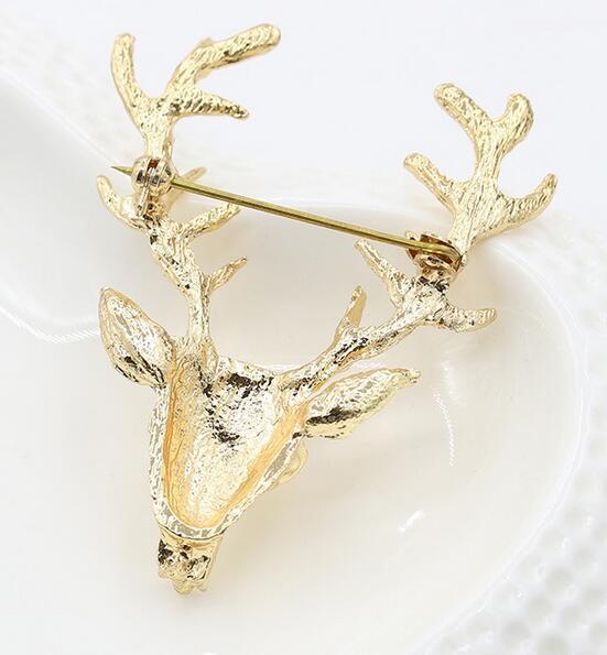 Broche de navidad Pin para la boda Animal Broches Venta caliente Unisex Navidad Popular Lindo Gold Deer Antlers Cabeza Pin Moda Styling joyería DHL
