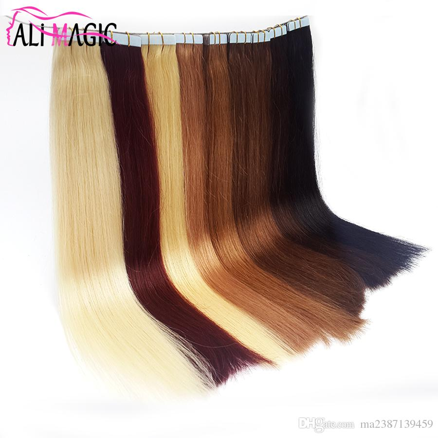 Tape In Human Hair Extensions Skin Weft Tape Hair Extensions 100g