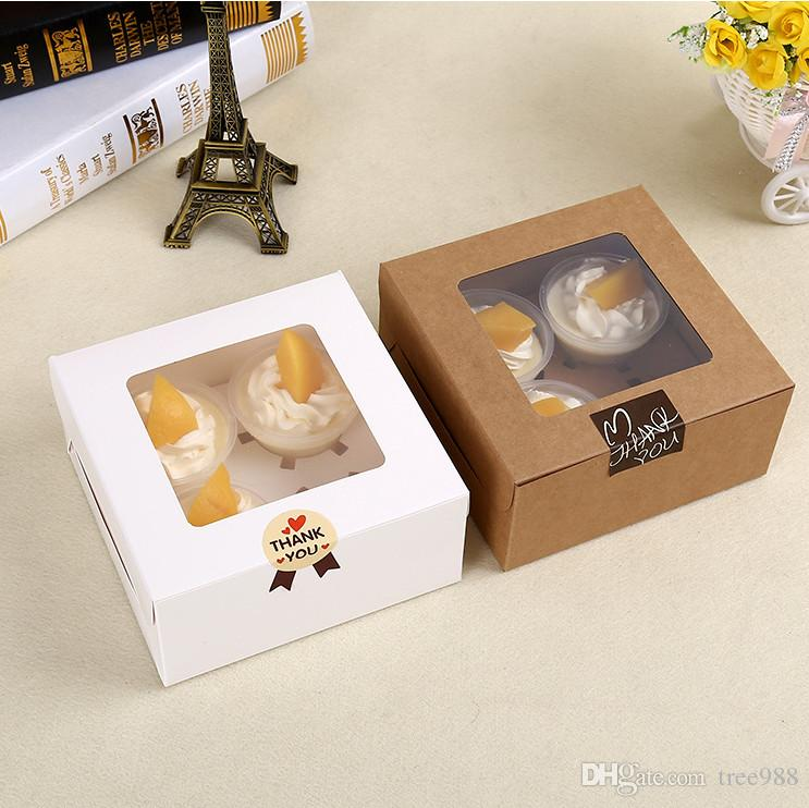 4-cell kraft paper window packaging box with inner tray for cupcake cake gift box, mooncake /food Packing boxes