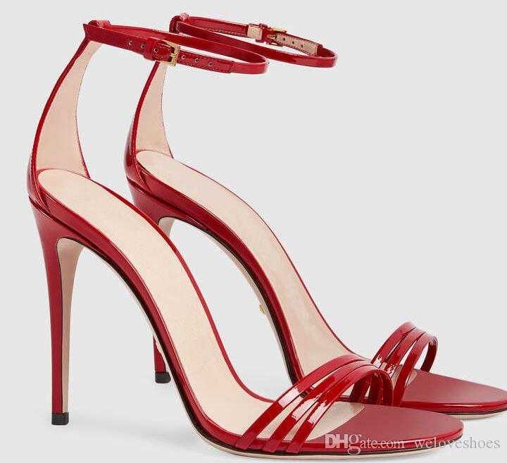 2017 mode frauen sandalen sexy dünne ferse party schuhe knöchelriemen schnalle sandalen offene spitze high heels damen kleid schuhe