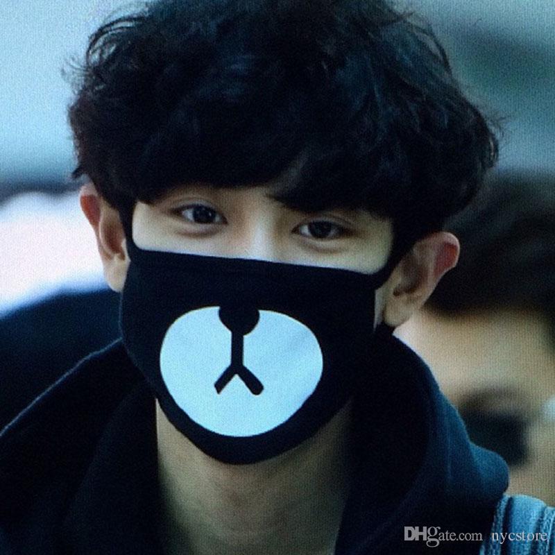 Atacado Preto Anti-Poeira de Algodão Fofo Urso Boca Máscara Kpop EXO Chanyeol Chan yeol