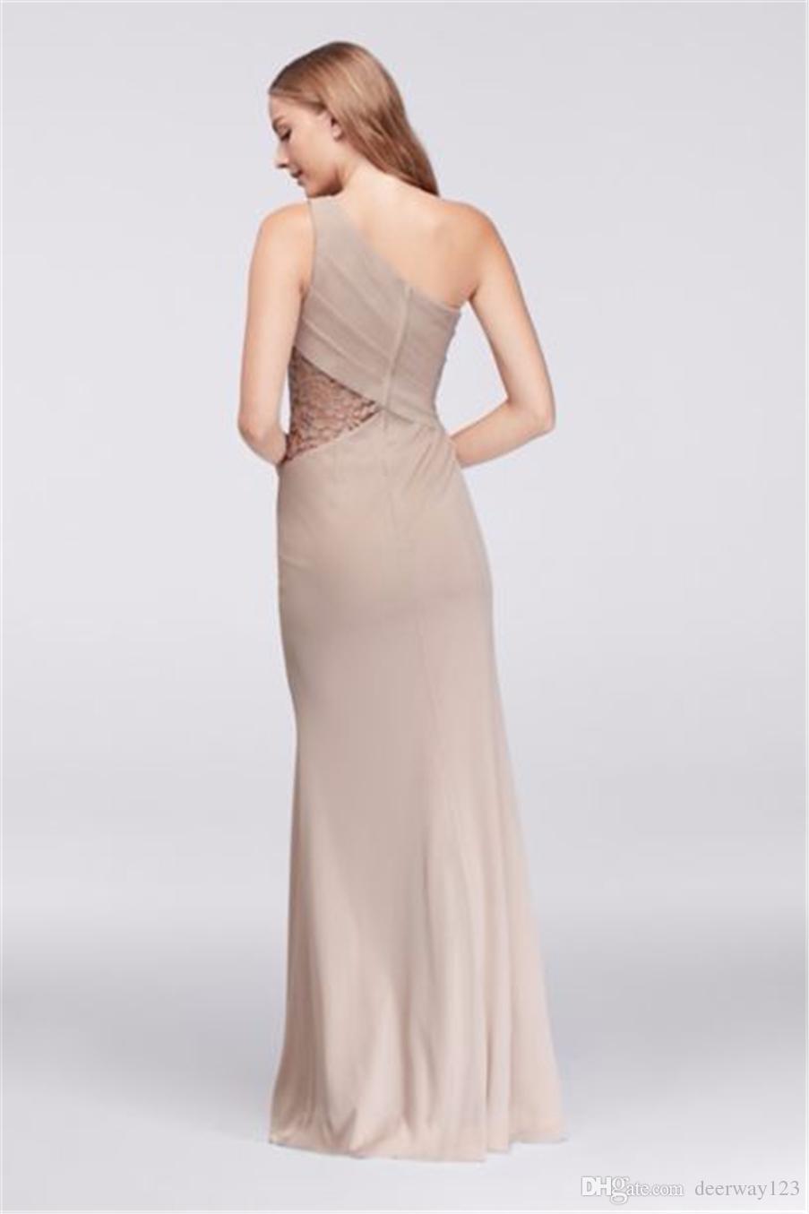 NEW! Одно плечевое шифоновое платье для подружки невесты с кружевной вставкой F19419 Свадебное платье Вечернее платье Вечерние платья