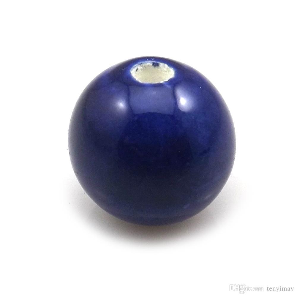 Hohe Qualität 100 teile / los 14mm Royal Blue Runde Keramik Lose Perlen Für DIY Schmuck Machen Kostenloser Versand
