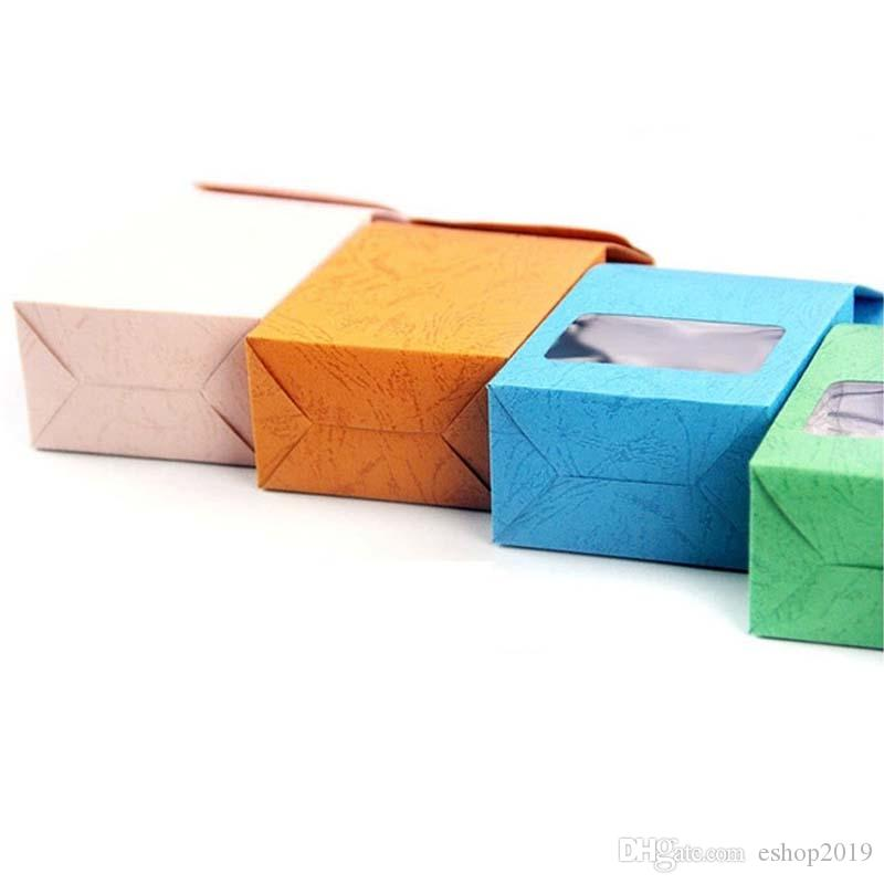 8x15.5x5cm Reclose Stand Colorful Kraft Bags with Clear window Color kraft Paper Packaging Tea Gifts Candy Wedding Box