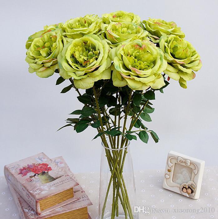 20 Pçs / lote Rosa Flores Artificiais Flores Simulação Única Pintura Rosa de Chá para a Mesa de Flores de Casamento decoração de Casa