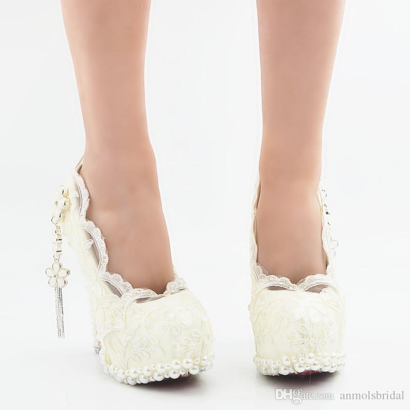 5 8 11 14CM tacchi bianchi pizzo fiore principessa scarpe Cenerentola scarpe Prom sera tacchi alti da sposa damigella d'onore fatti a mano scarpe da sposa 263