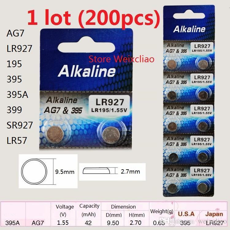 200 шт. 1 лот AG7 LR927 195 395 395A 399 SR927 LR57 1,55 В щелочной кнопки батареи батареи монеты батареи Бесплатная Доставка