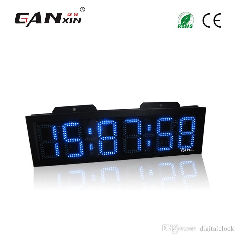 [GANXIN]8 inch 6 Digits Outdoor Use Waterproof Blue led Wall Clock Double  Sides Large Display Marathon Sport Timer for Outdoor Sports