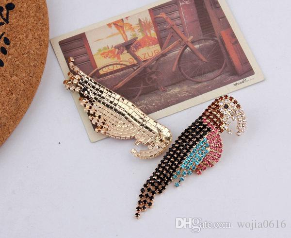 Darmowa wysyłka Nowa moda Europejski i amerykański styl przesadny kolorowy pełny kryształ luksusowy papugi kolczyki Party Dress Jewelry