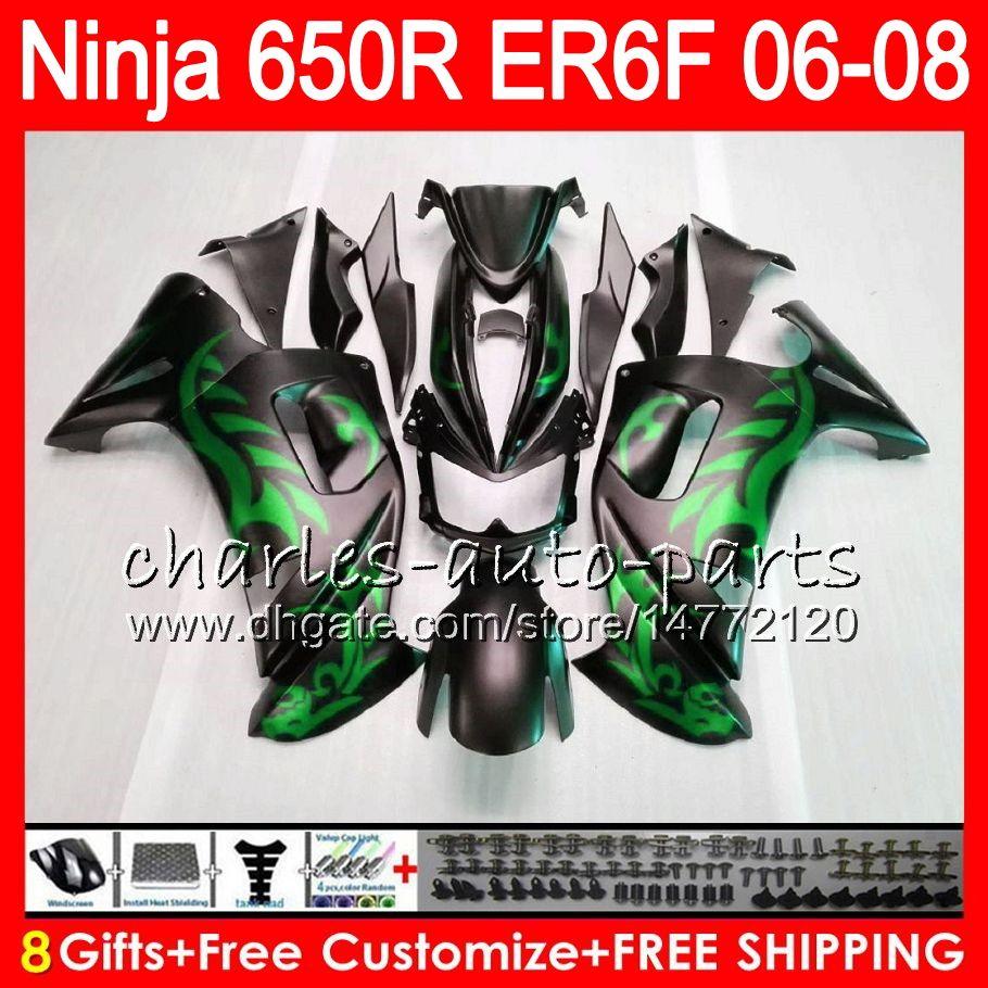 8Hediyelik Vücut KAWASAKI NINJA 650R ER6F 06 07 08 Ninja650R 20HM20 Mat yeşil ER 6F 06-08 ER6 F ER-6F 2006 2007 2008 Fairing Kiti