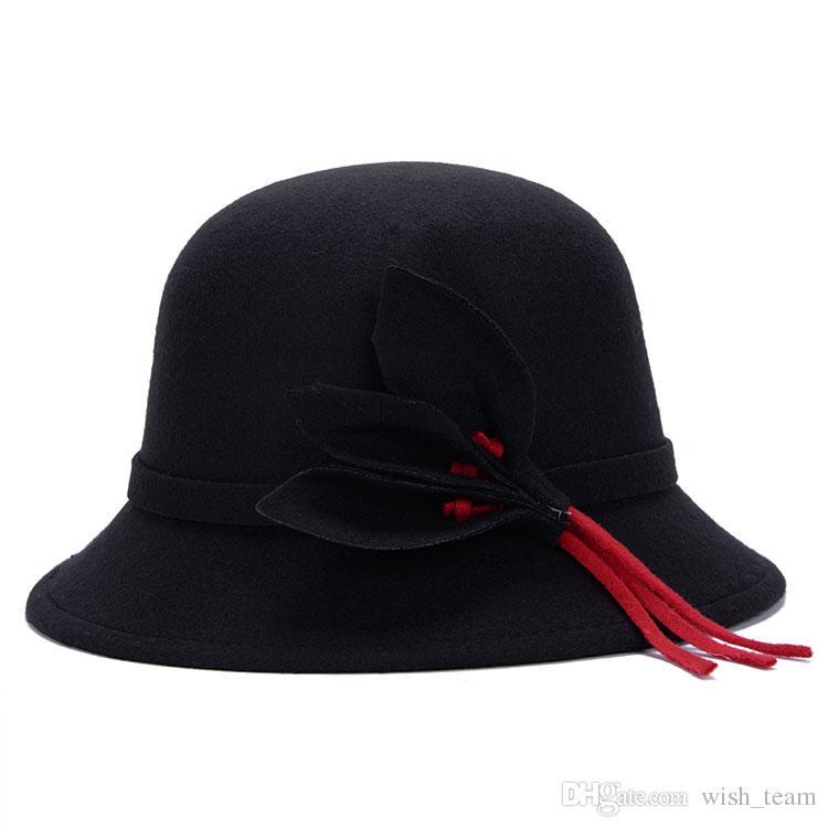 Sombrero de fieltro para mujer Faux Woolen chapeu fedora feminino Sombrero de invierno cálido Hojas Sombreros Gorros al aire libre caliente